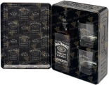 Крепкие напитки Jack Daniels Tennessy metal gift box with 2 glasses