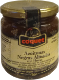 Деликатесы чёрные Coquet Black Gourmet Olives in Olive Oil in glass 300 gr