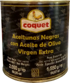 Деликатесы Coquet Black Gourmet Olives in Olive Oil Extra Virgin 2550 gr can