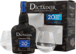 Крепкие напитки Dictador 20 years gift set with 2 glasses