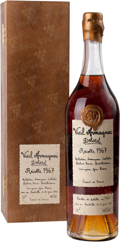 Крепкие  Delord  Armagnac Delord 1967 Millesime (in a wooden box)