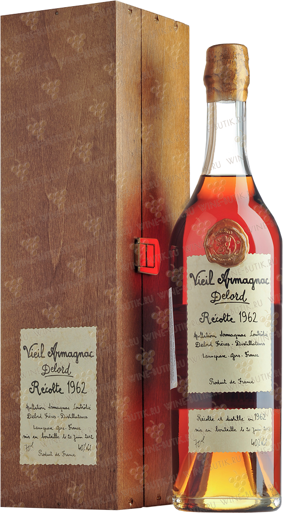 Крепкие  Delord  Armagnac Delord 1962 Millesime (in a wooden box)