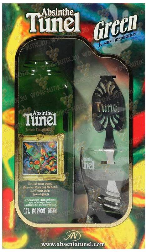 Крепкие  Tunel  Absinthe Tunel Green with spoon and glass in gift box