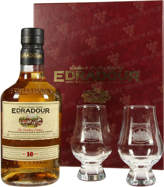 Крепкие  Edradour  Edradour 10 years gift box+2 glasses
