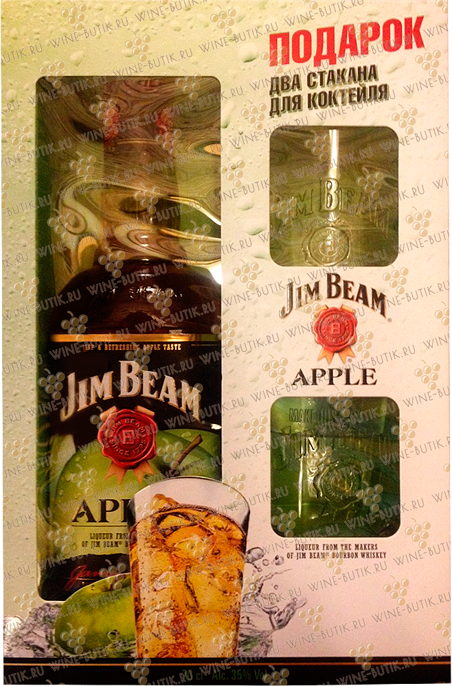 Крепкие  Jim Beam  Jim Beam Apple 0,7 gift box + 2 glasses