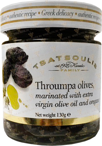 Деликатесы  Tsatsoulis Bross S.A.  Throumpa olives marinated with extra virgin olive oil and oregano