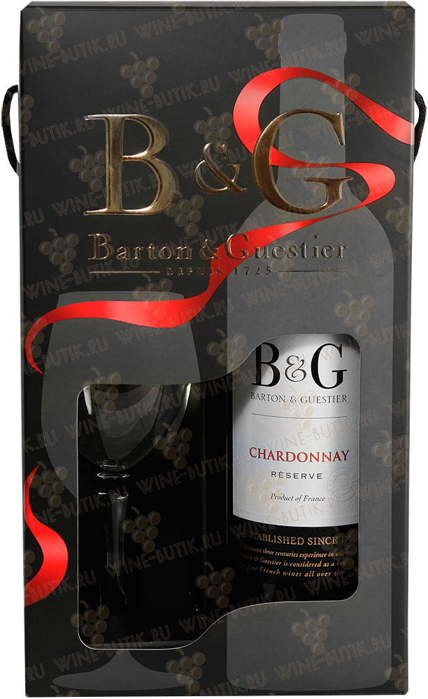 Вино  Barton & Guestier  Barton & Guestier Chardonnay Reserve 2015 with a glass in gift box