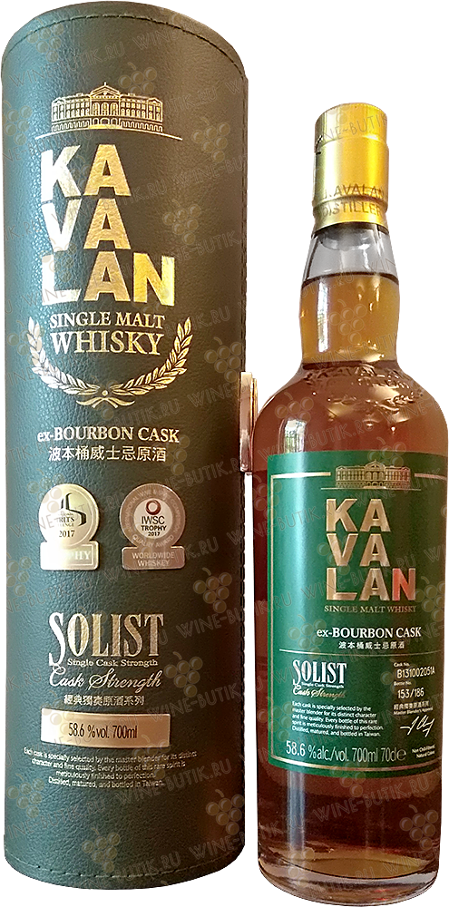 Крепкие  Kavalan  Kavalan Solist ex-Bourbon Cask Single Cask Strength 57.8% gift box