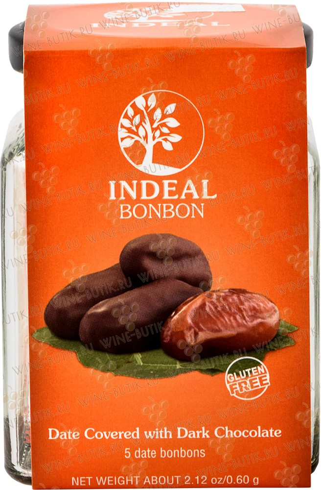 Деликатесы  INDEAL  Dates in chocolate INDEAL glass packing 5pcs