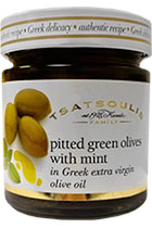 Pitted green olives with mint in Greek extra virgin olive oil