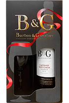 Barton & Guestier Cabernet Sauvignon Reserve 2015 with a glass in gift box