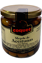 Coquet Assortment of four varieties of olives in glass 300 gr
