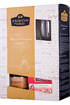 Fiorino d'Oro Prosecco with 2 glasses and candy gift box