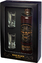 Riga Black Balsam gift box with 2 shots 0,5L