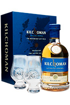 Kilchoman Machir Bay gift box with 2 glasses