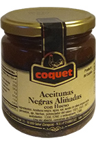 чёрные Coquet Black Gourmet Olives in Olive Oil in glass 300 gr