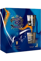 Chivas Regal 18 years old limited edition Manchester United gift set with 2 glasses