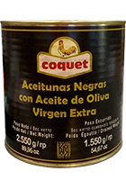 Coquet Black Gourmet Olives in Olive Oil Extra Virgin 2550 gr can