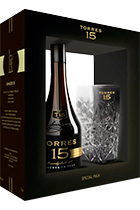 Torres 15 Reserva Privada gift box with glass