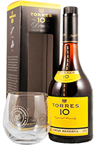 Torres 10 years Gran Reserva gift box with glass