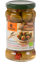 GAEA Organic green olives stuffed with natural pimento in glass 295 gr