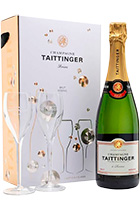 Taittinger Brut Reserve gift box with 2 glasses